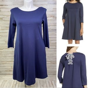 1901 Tie Back Navy Knit Swing Dress with Pockets L